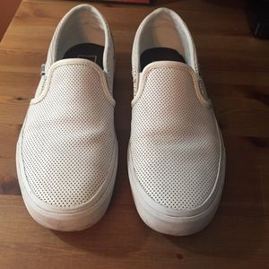 Perforated White Van Slip Ons Size 8